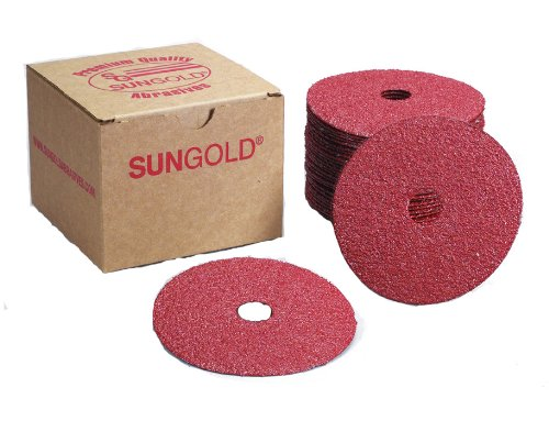 Sungold Abrasives 17206 5' X 7/8' Center Hole 80 Grit Aluminum Oxide Fiber Disc, 25-Pack