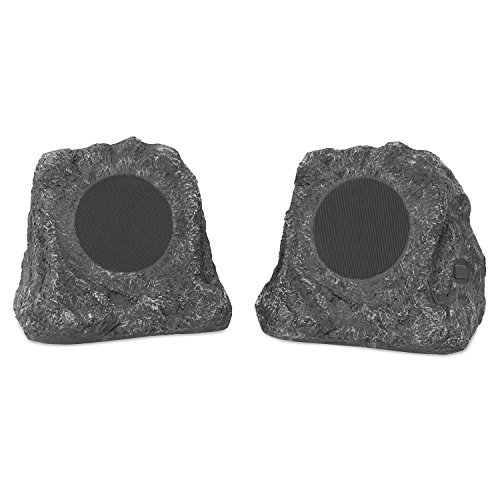 Innovative Technology Outdoor Rock Speaker Pair - Wireless Bluetooth Speakers for Garden, Patio   Waterproof Design, Built for all Seasons   Rechargeable Battery   Wireless Music Streaming   Charcoal