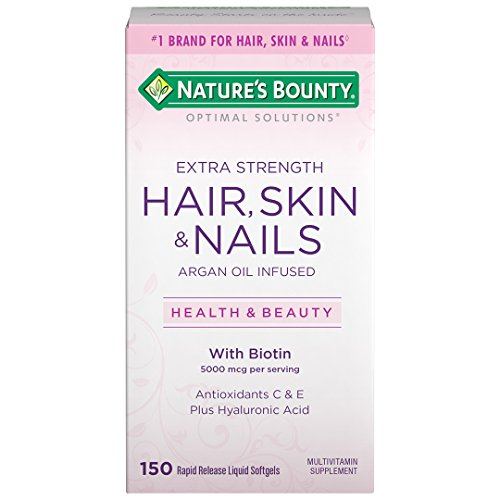 Extra Strength Hair Skin and Nails Vitamins by Nature's Bounty Optimal Solutions, Vitamin C, Vitamin A, & Vitamin D for Immune Support, Multivitamin Softgels, 150 Softgels