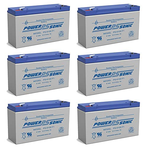 Power Sonic PS-6100 6V 12AH Battery Replacement for Golf Cart - 6 Pack