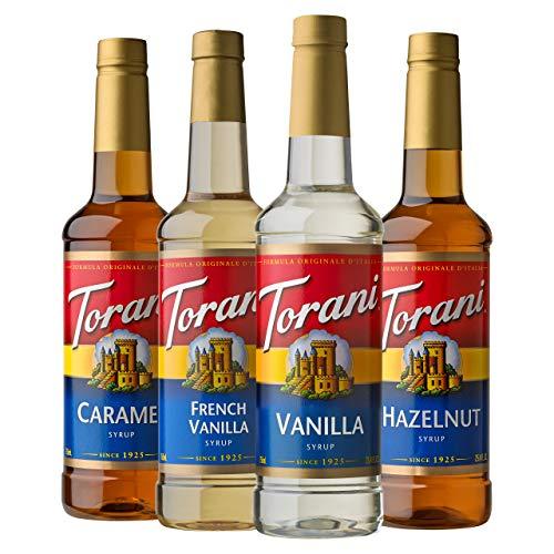 Torani Variety Pack Caramel, French Vanilla, Vanilla & Hazelnut, 25.4 Ounces (Pack of 4)