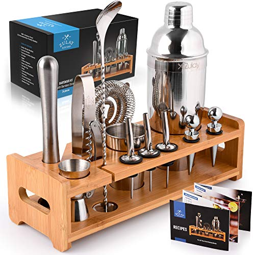 Zulay 24-Piece Bartender Kit - Stainless Steel Bar Set 24oz Cocktail Shaker Set With Accessories - Professional Bartender Set With Bamboo Stand & Recipe Booklet For Mixed Drinks