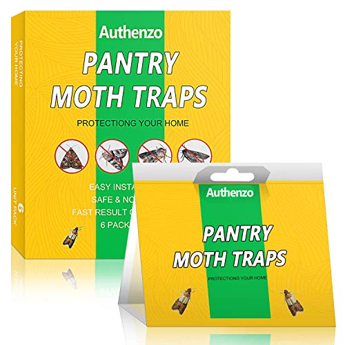 Authenzo Pantry Moth Traps, Premium Moth Traps with Pheromones Prime, Moth Killer Sticky Glue Traps for Food, Meal and Cupboard Moths in Kitchen, Safe, Non-Toxic with No Insecticides (6 Traps)