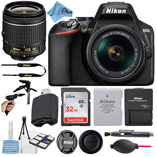 Nikon D3500 24.2MP DSLR Digital Camera with NIKKOR 18-55mm VR Lens + SanDisk 32GB Memory Card + Hi-Speed USB Card Reader + Tripod + A-Cell Accessory Bundle