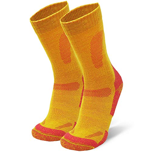Merino Wool Hiking & Walking Socks 1 pack (Yellow, US Women 11-13 // US Men 9.5-12.5)
