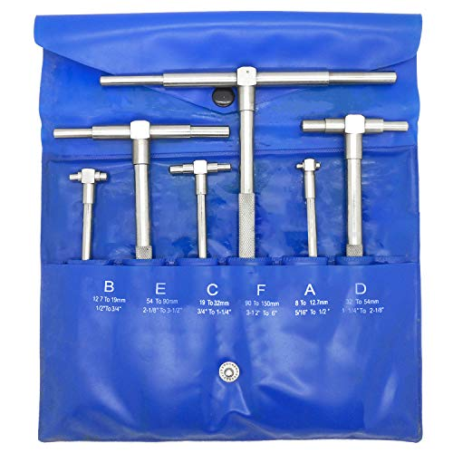 6 Pc Precision Telescoping Gage Set 5/16' - 6' Range T-Bore Hole Gauges w/Pouch