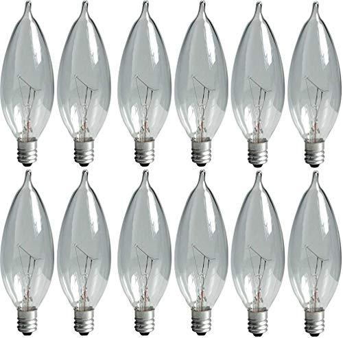 GE Lighting Crystal Clear 24782 40-Watt, 370/280-Lumen Bent Tip Light Bulb with Candelabra Base, 12-Pack