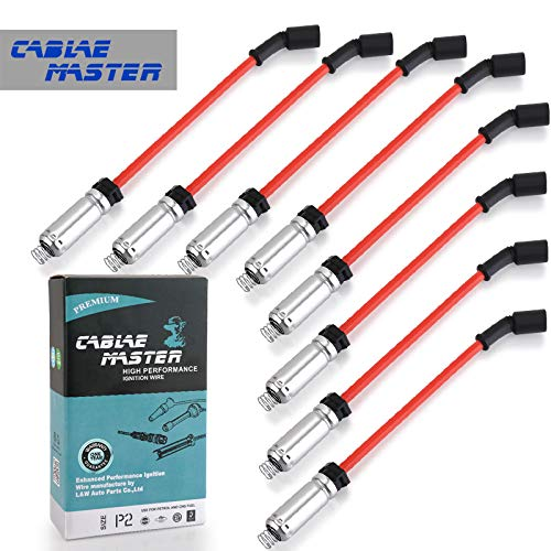 Cable Master 10.2 MM Racing Blue Spark Plug Wires Compatible with LS4 LS2 LS7 LQ9 Escalade Camaro Tahoe Silverado Express Suburban Sierra Yukon H2 Red Color