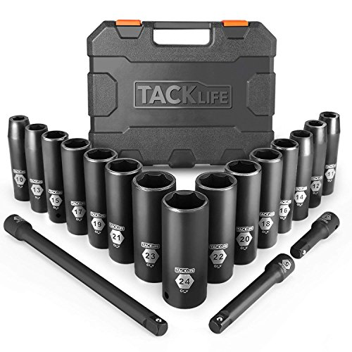 Drive Impact Socket Set, Tacklife 18pcs 1/2-inch Drive Deep Impact Socket Set, 6 Point, 10-24mm, 15pcs Metric Sockets with 3pcs 1/2-Inch Drive Impact Extension Bar Set - HIS1A