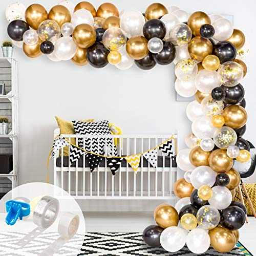 Whaline Balloon Arch & Garland Kit, 120Pcs Black, White, Gold Confetti and Metal Latex Balloons with 1pcs Tying Tool, Balloon Strip Tape for Graduation, Wedding, Birthday Decor