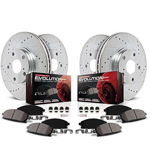 Power Stop K5952 Front & Rear Brake Kit with Drilled/Slotted Brake Rotors and Z23 Evolution Ceramic Brake Pads