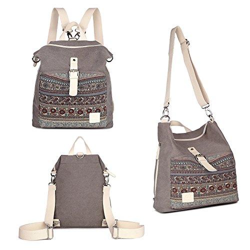 Womens Backpack Purse, Canvas Purse 3-Way Crossbody Bag Boho Shoulder Tote Bags Girls Travel Daypack