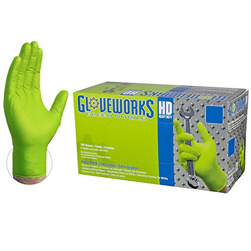 GLOVEWORKS HD Industrial Green Nitrile Gloves - 8 mil, Latex Free, Powder Free, Diamond Texture, Disposable, Heavy Duty, Xlarge, GWGN48100-BX, Box of 100