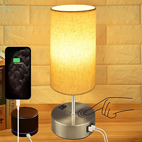 Touch Control Bedside Lamp,Hansang 3-Way Dimmable Table Lamp with Dual USB Charging Ports,Modern Nightstand Lamps Fabric Linen Cylindrical Lampshade for Bedroom,E26 Dimmable LED Bulb Included