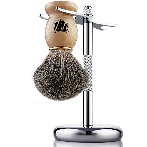 Miusco Badger Hair Wet Shaving Brush and Stand Set, Chrome, Fathers Day Gifts for Dad