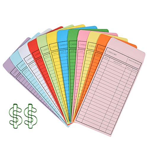 YOTINO 24 Pcs Budget Envelope,Cash Store Envelopes Systemn for Money Saving, Control Spending, Pay Expense, 12 Assorted Colors, Vertical Layout & Holepunched