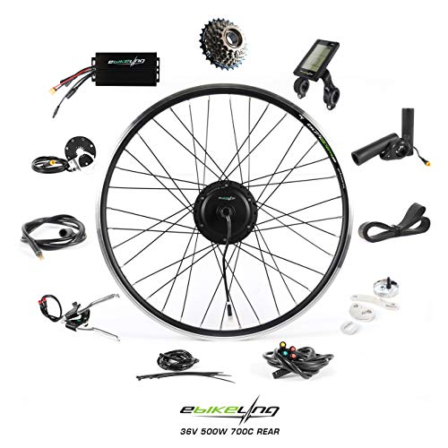 EBIKELING 36V 500W 700C Geared Rear Waterproof Electric Bicycle Conversion Kit (Rear/LCD/Thumb)