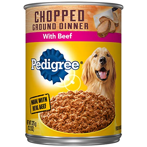 PEDIGREE Adult Canned Wet Dog Food Chopped Ground Dinner with Beef, (12) 13.2 oz. Cans