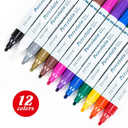 ZEYAR Acrylic Paint Pens for Porcelain use, Professional Ceramic painting, 12 colors Water-based, Medium Point, Water and Fade Resistant, DIY on Mugs and other Ceramics for Permanent Collection
