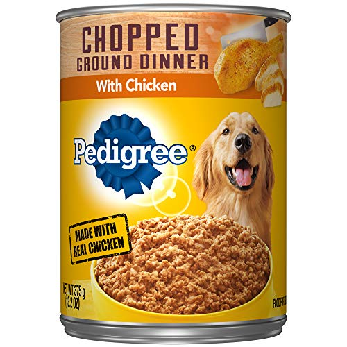PEDIGREE Adult Canned Wet Dog Food Chopped Ground Dinner with Chicken, (12) 13.2 oz. Cans