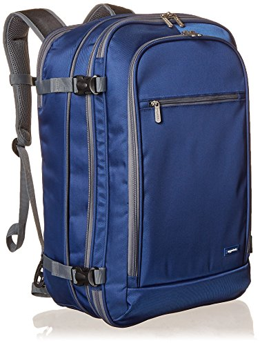 AmazonBasics Carry-On Travel Backpack - Navy Blue