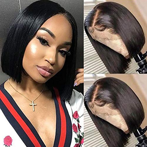 RECOOL 10A Human Hair Wigs Bob Wig Straight Hair for Black Women 13x4 Lace Front Wigs Natural Color Brazilian Straight Hair Wigs(8 inch Straight Bob Wig)