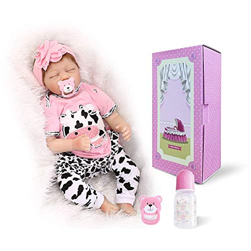 OCSDOLL Reborn Baby Dolls Girl 22 inch Sleeping Lifelike Soft Touch Silicone Vinyl Newborn Handmade Real Life Baby Doll for Age3+