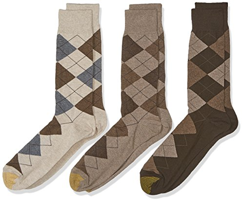 Gold Toe Men's Big and Tall Carlyle Crew Socks, 3 Pairs, Taupe Argyle Mix, Shoe Size: 12-16