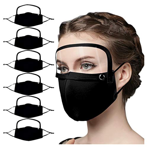 Famlhewo 6PCS Unsex Face Cloth Cover, Reusable Breathable Face Bandanas with Detachable Eyes Shield for Adult Solid color (Black,6PC)