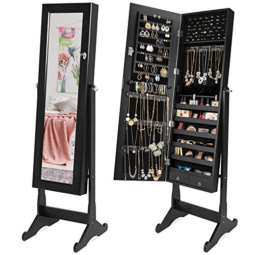 Best Choice Products Mirrored Cabinet Jewelry Armoire w/ 6 Shelves, Stand Rings, Necklaces Hooks, Bracelet Rod - Black