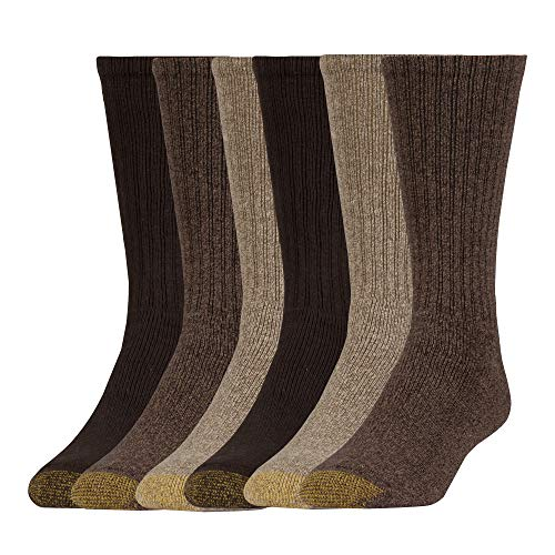 Gold Toe mens Harrington Crew, 6 Pairs Casual Sock, Taupe Marl/Khaki Marl/Brown, Shoe Size 6-13 US