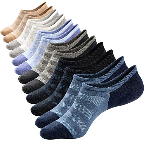 Mens Low Cut No Show Mesh Top Fresh Moisture Casual Non-Slide Socks,6 Pairs (Size L)