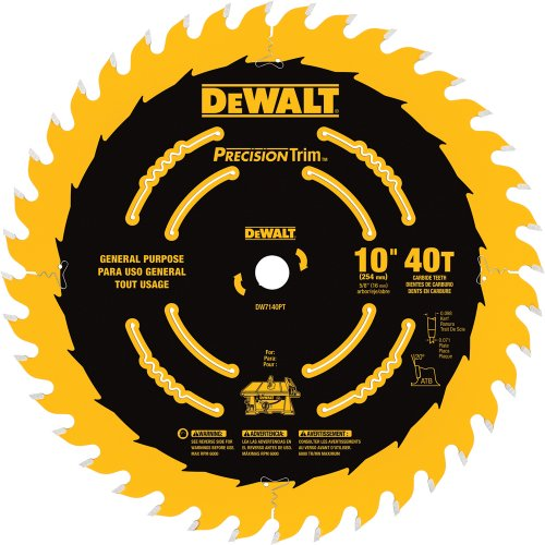 DEWALT 10-Inch Miter / Table Saw Blade, ATB, Ripping and Crosscutting, 5/8-Inch Arbor, Tough Coat, 40-Tooth (DW7140PT)