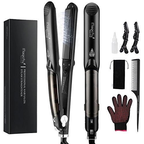 Steam Flat Iron Hair Straightener, Magicfly Professional Salon Ceramic Tourmaline Flat Iron with Vapor Heat up Fast, 360 Swivel Cord, 5 Modes For Dry & Wet Hair, Black