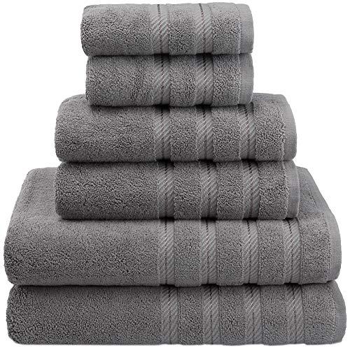 American Soft Linen 6-Piece 100% Turkish Genuine Cotton Premium & Luxury Towel Set for Bathroom & Kitchen, 2 Bath Towels, 2 Hand Towels & 2 Washcloths [Worth $72.95] - Rockridge Grey