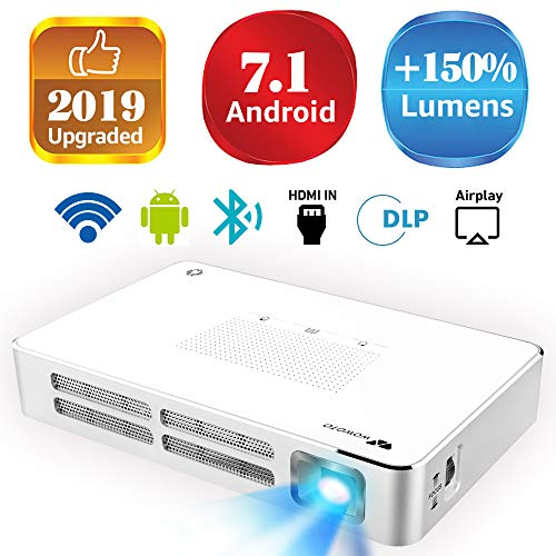 Mini Projector WOWOTO A5 100ANSI Android 7.1 Portable DLP Video Projector 150' Home Theater Projectors with BT4.0 Support WiFi Wireless Screen Share 1080P HDMI USB SD Card