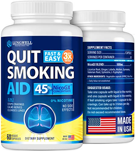 Quit Smoking Aid - Lung Cleanse & Detox Pills - Made in USA - Helps to Clear Lungs & Stop Smoking - Infused with Mullein & L-Tryptophan for Lung Detox & Stress Relief - COPD & Asthma Relief