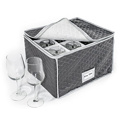 StackStorePlusMore Stemware Storage Case - Quilted Fabric Container in Gray Measuring 16' x 13' x 10'H - Inside Compartment is 4' x 4' - Perfect Storage Case for White and Red Wine Beer Mugs