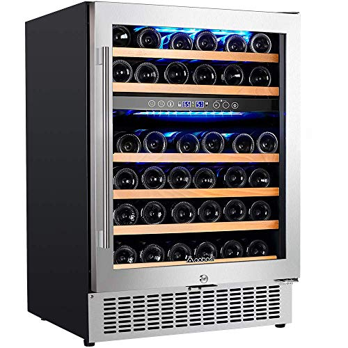UpgradedAobosi 24 Inch Dual Zone Wine Cooler 46 Bottle Freestanding and Built in Wine Refrigerator with Advanced Cooling System, Quiet Operation, Blue Interior Light   Easily Store Larger Bottles…