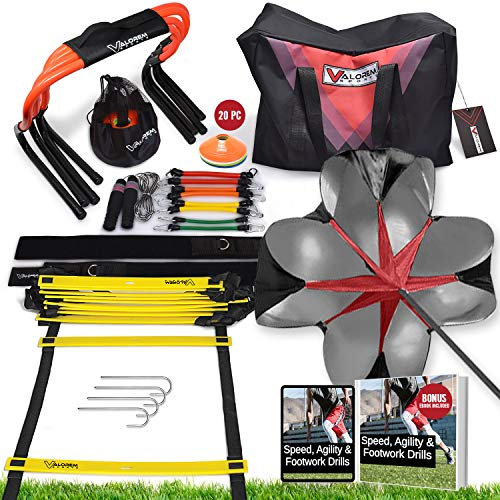 Speed & Agility Training Equipment Set - Includes 4 Agility Hurdles, 20 Disc Cones, Agility Ladder, Adjustable Leg Resistance Bands, Speed Parachute, Jumping Rope & Carry Bag - Designed For All Sports