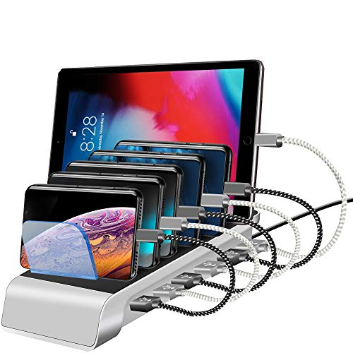 Kuyia USB Charging Station for Multiple Devices, 6 Ports 10.2A High Speed Smart Charging Dock, Multi Device Charging Organizer for Smart Phones, Smart Watch, iPhone, iPad, Galaxy, Tablets (Silver)