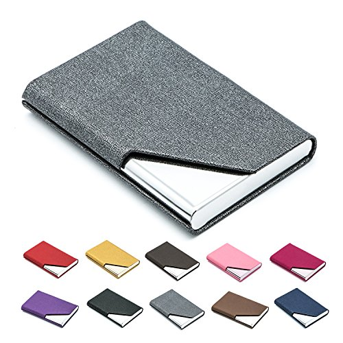 Business Name Card Holder Luxury PU Leather & Stainless Steel Multi Card Case,Business Name Card Holder Wallet Credit Card ID Case/Holder for Men & Women - Keep Your Business Cards Clean (Gray)