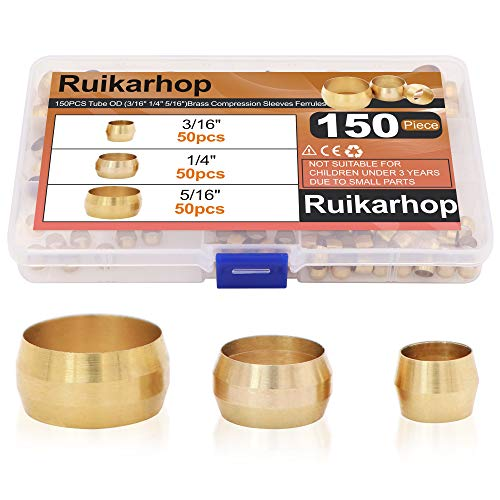 Ruikarhop 150PCS Tube OD(3/16' 1/4' 5/16') Brass Compression Sleeves Ferrules,Brass Compression Fitting Assortment Kit