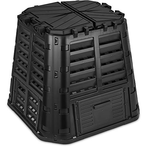 Garden Composter Bin Made from Recycled Plastic, 110 Gallon (420 Liter) Large Compost Bin - Create Fertile Soil with Easy Assembly, Lightweight, Aerating Outdoor Compost Box, by D.F. Omer