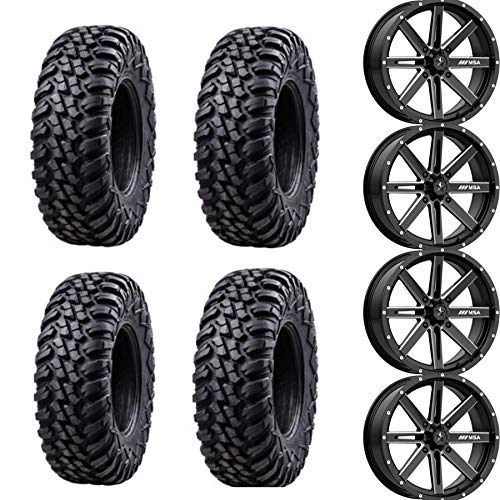 Four 30x10-15 TUSK TERRABITES mounted on four MOTOSPORT ALLOYS M12 DIESEL Wheels - 4/156 Bolt Pattern - POLARIS RZR GENERAL RANGER 1000 900 800 570 (Black)