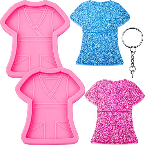 2 Pieces Nurse Clothing Keychain Silicone Mold Doctor T-Shirt Keychain Mold Candy Chocolate Fondant Making Mold with 20 Pieces Key Rings for DIY Pendant Luggage Tag Earrings Candy Cake Dessert