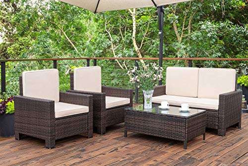 Homall 4 Pieces Outdoor Patio Furniture Sets Rattan Chair Wicker Conversation Sofa Set, Outdoor Indoor Backyard Porch Garden Poolside Balcony Use Furniture (Beige)