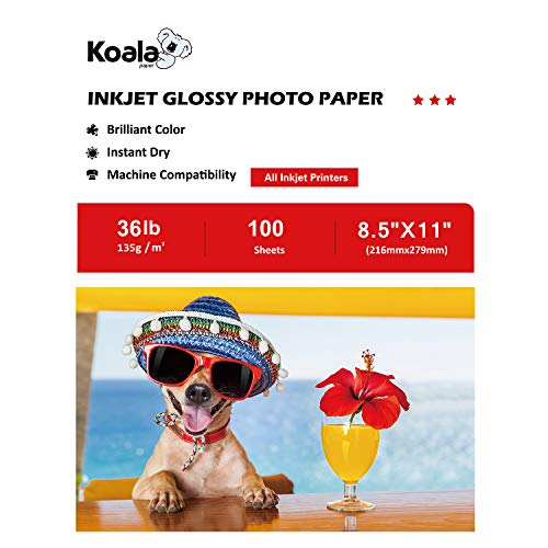 Koala Glossy Inkjet Brochure and Flyer Paper 8.5x11 Inches 135gsm 100 Sheets Compatible with Inkjet Printer