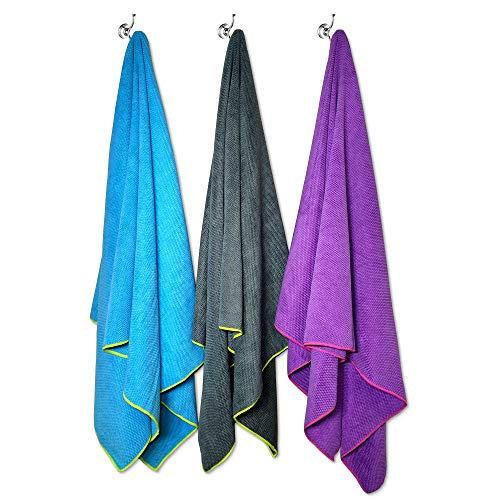 Flow Quick Dry Swim Towel for Competitive Swimming – Available in 2 Sizes and 3 Colors (Blue, Purple, Gray) (Large Blue)