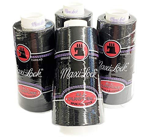 4 Large Cones (3000 Yards Each) Text 27 Polyester Sewing Quilting Serger Maxi Lock All Purpose Thread White or Black (Black)